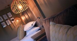 Beige boutique hotel bedroom,