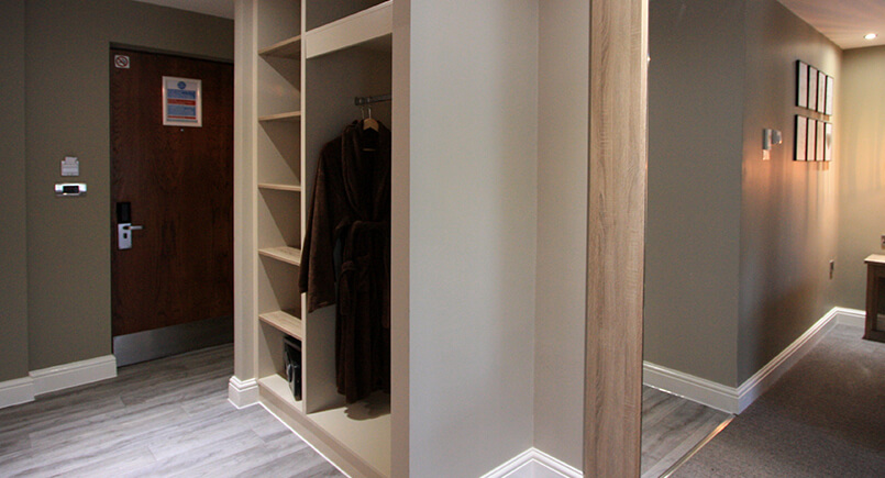 Hotel bedroom open wardrobe design