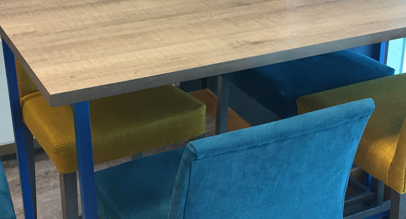 Teal bar Stools with Wooden Legs and Backrest