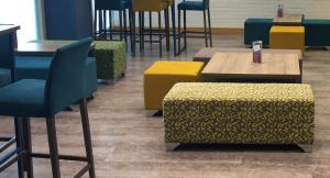 Conference Centre Break Out Area with Bar Stools and Ottomans