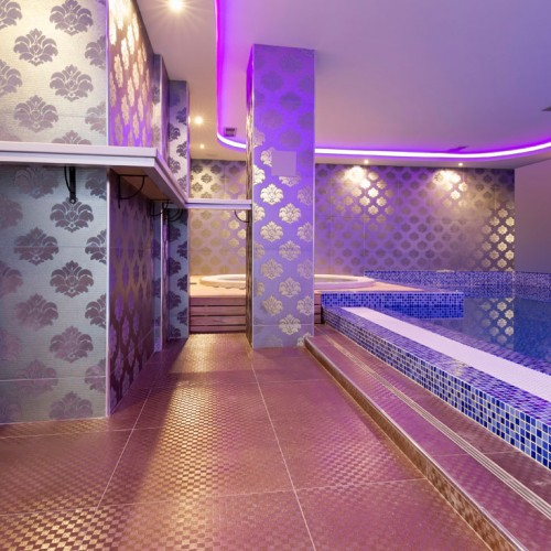 Ethnic Damask Gold Tile Plunge Pool
